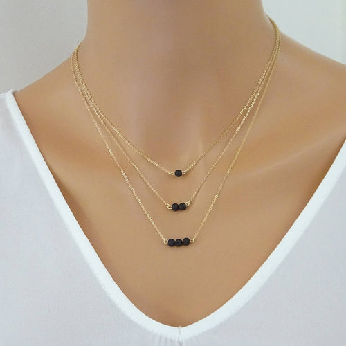 Classic Multilayers Black Lava Stone Necklace