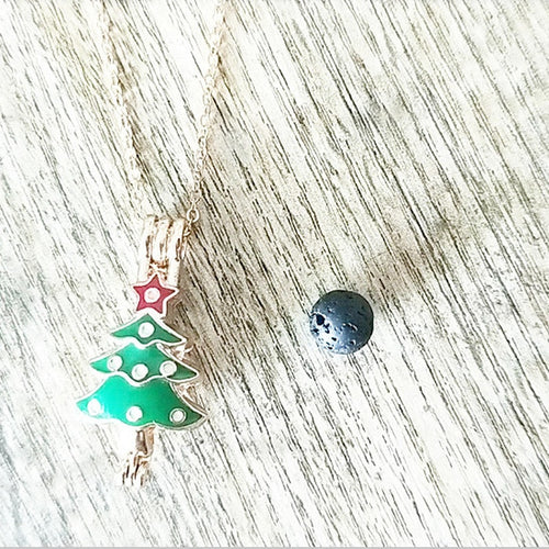 Christmas Tree Black Lava Stone Necklace (3 Colours)