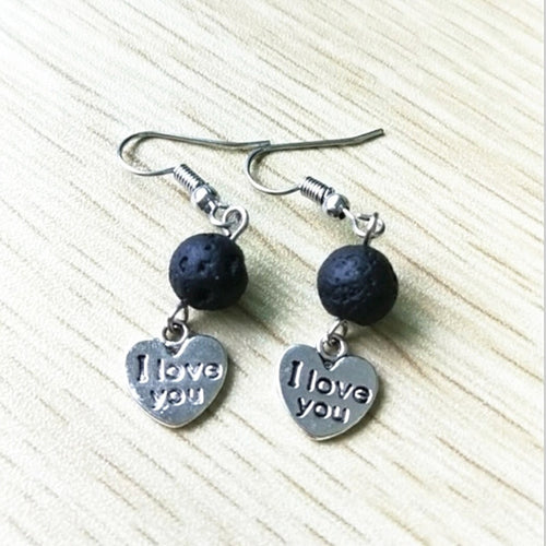 Love Heart Lava Rock Essential Oil Diffuser Earrings (11 Styles)