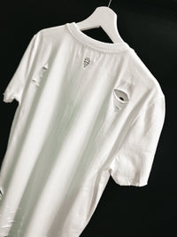 Distressed RFLCTV Longline T-shirt (White)