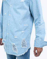 Blue Distressed Denim Shirt [Washed]