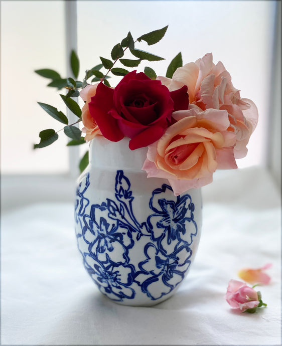English Porcelain Cherry Blossom Vase