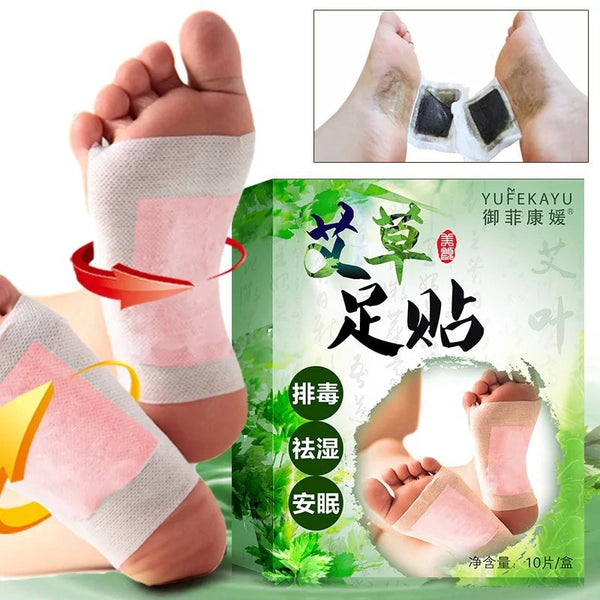 10pcs Effective Wormwood Foot Patch Foot Pads Wormwood Extract Health Care Detox Help Sleep Relax Patch FM88