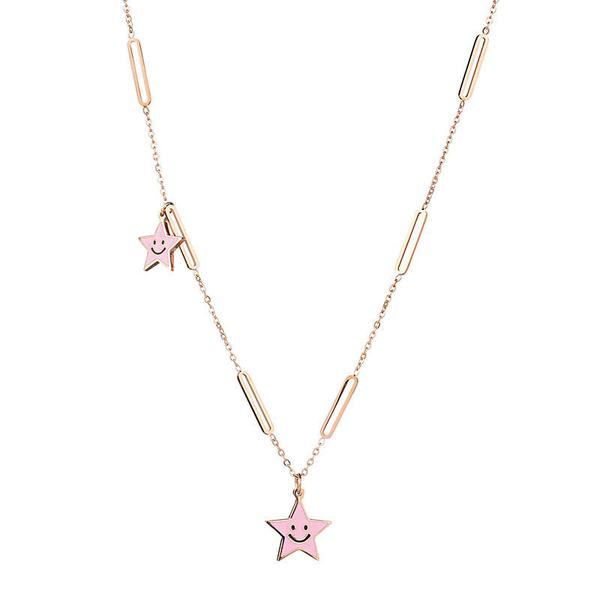 Collana donna Pink Star gold rose
