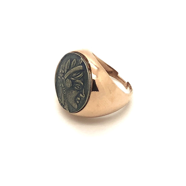 Argento 925 - Anello donna Chevalier oro rosa con Moneta Antica 20mm - monility