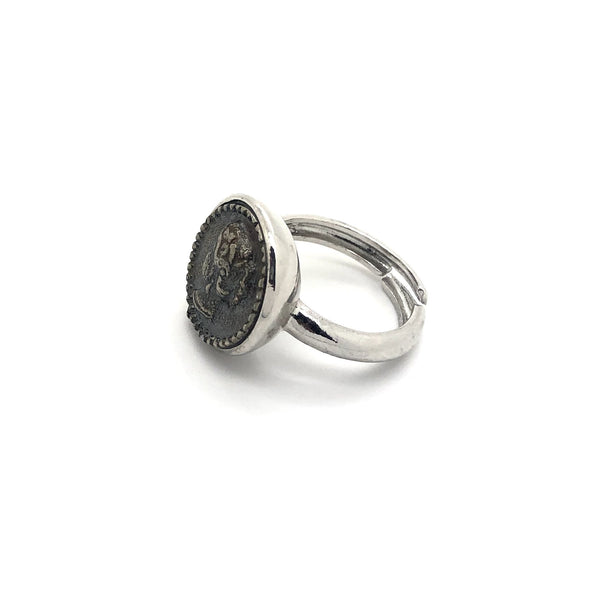 Argento 925 - Anello donna Liscio con Moneta Antica 14mm