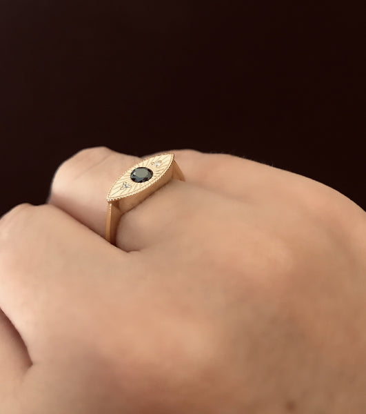 Argento 925 - Anello donna Eye gold regolabile - monility