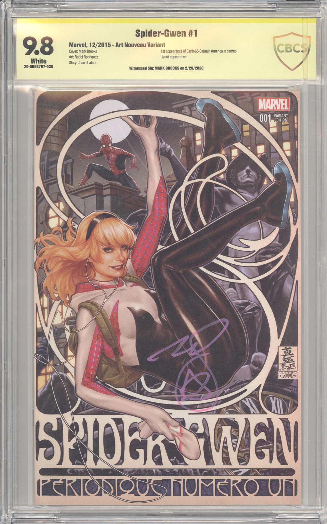 Spider-Gwen #1 Brooks Variant CBCS 9.8 signed by Brooks