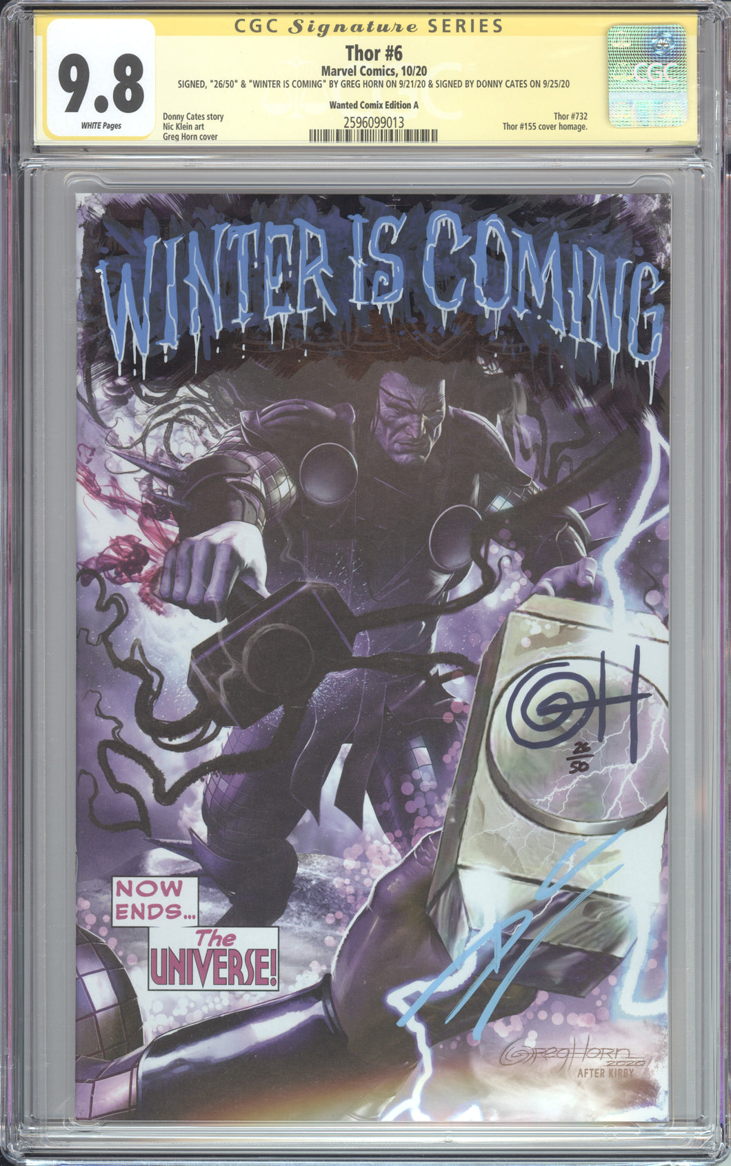 THOR #6 VARIANT CVR A CGC 9.8 SS SIGNED & REMARKED BY GREG HORN and DONNY CATES