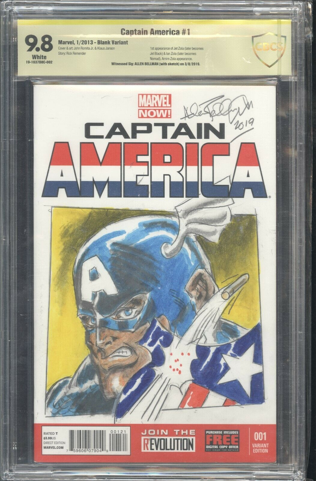 CAPTAIN AMERICA #1 Blank CBCS 9.8 Sign and Sketch Allen Bellman