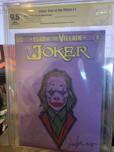 Joker Year Of The Villain #1 CBCS 9.8 Purple Blank Sketch by Jee Hyung Lee