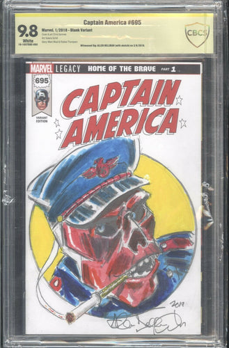 CAPTAIN AMERICA #695 Blank CBCS 9.8 Sign and Sketch Allen Bellman Red Skull