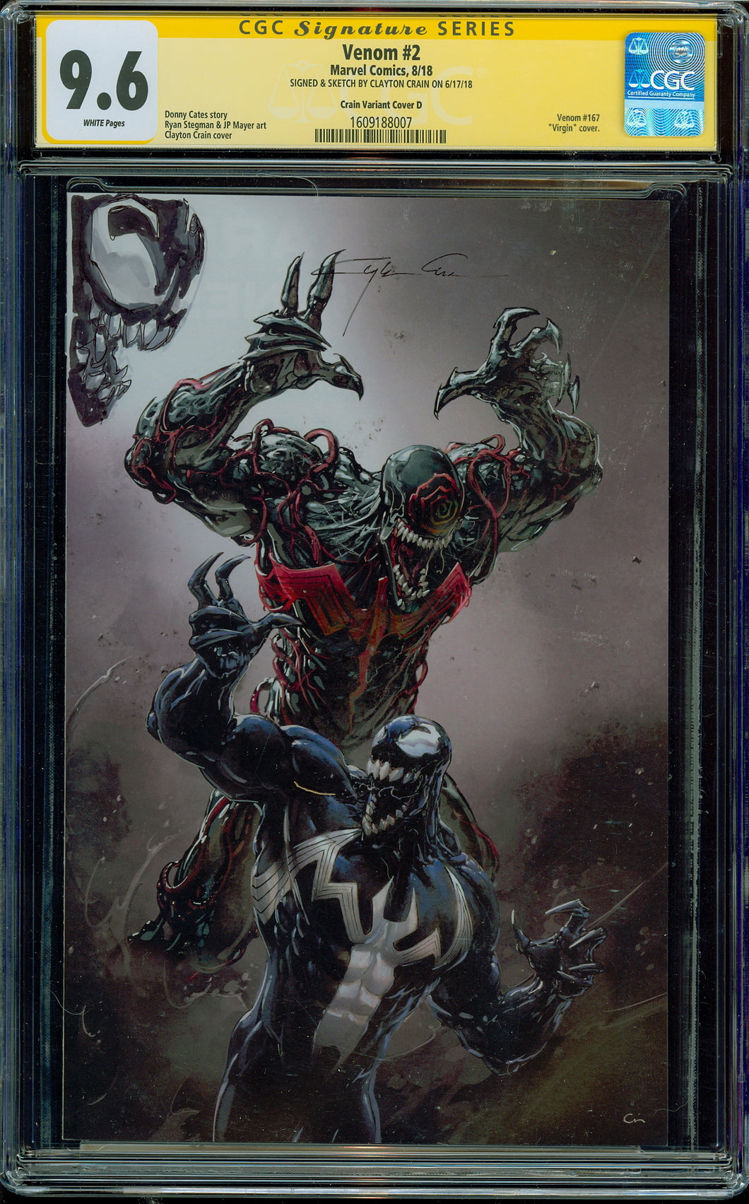 Venom #2 Crain Variant Signed and Sketched