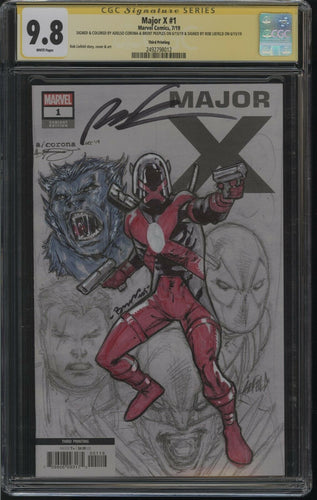 MAJOR X #1 CGC SS 9.8 3rd Print 1:25 Signed Liefeld, Sketck Corona and Peebles