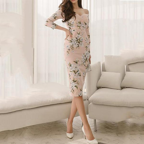 Sexy Floral Off Shoulder Long Sleeve Bodycon Dress
