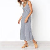 Fashion Sleeveless Stripe Jumpsuits