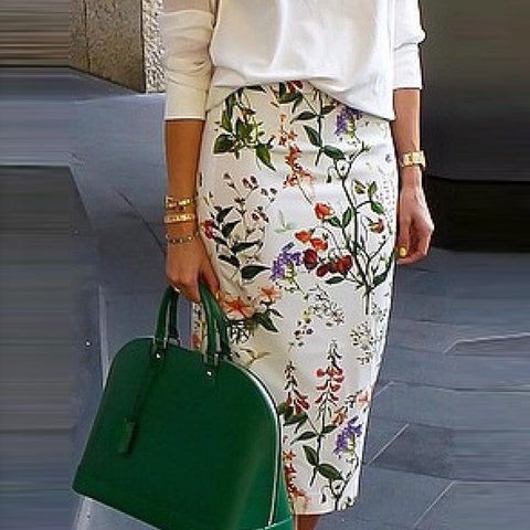 Elegant Floral Printed OL Pencil Midi Skirt