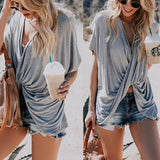 Sexy V Collar Pure Color Rolling Short Sleeve Shirt
