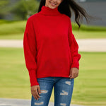 High Collar Long Drop Shoulder Sweater