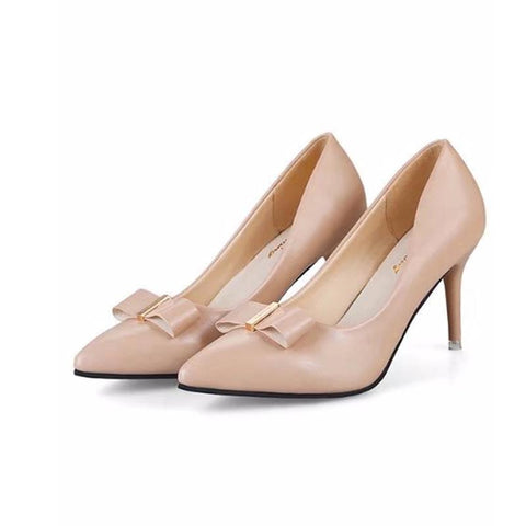 Plain  Stiletto  High Heeled  PU  Point Toe  Date Pumps