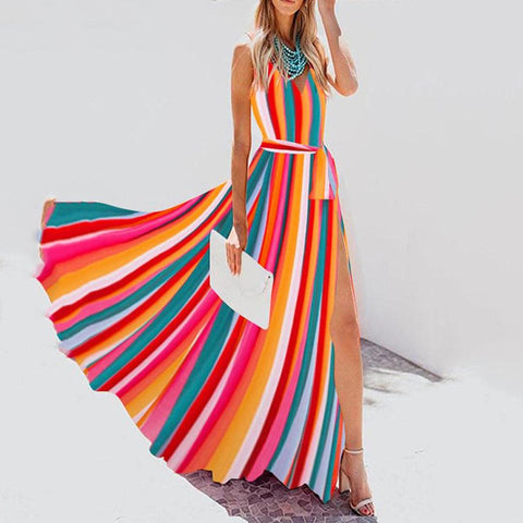 Fashion Rainbow Stripe V-Neck Beach Dress