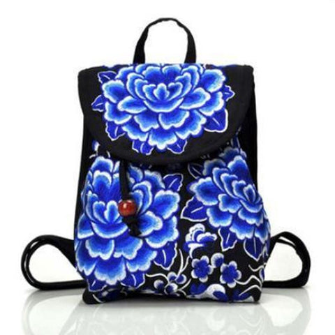 Women Vintage Embroidery Small Backpack