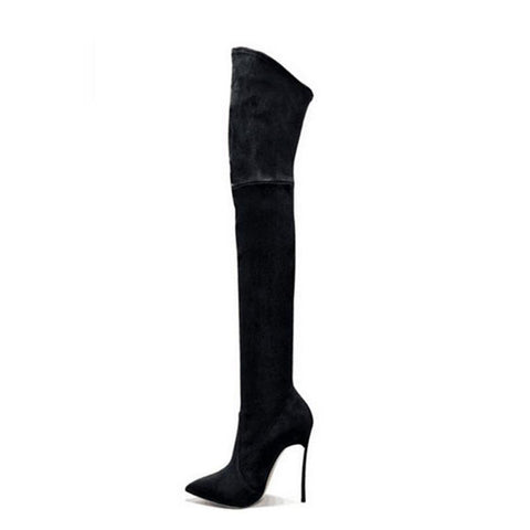 Thigh High High Heeled Stiletto Suede Sexy Point Toe Boots