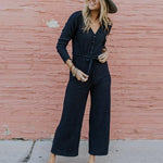 Casual Sexy V Neck   Button Down Long Sleeve Jumpsuits