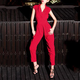 Fashion V Collar Defined Waist Plain Jumpsuit