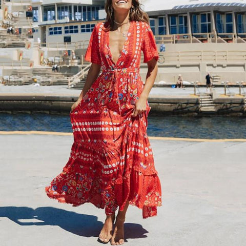 Bohemian V Neck Printed Colour Short Sleeve Chiffon High-Waist Dress