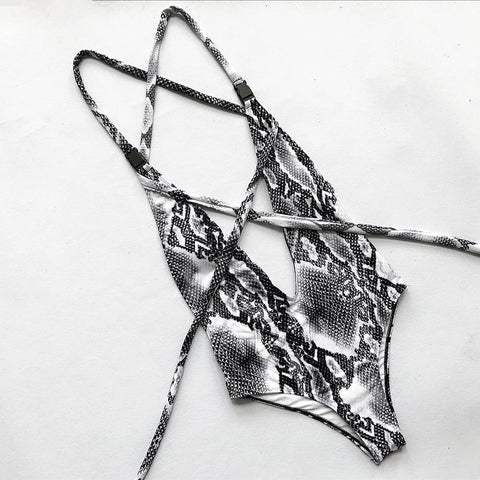 Sexy Deep V Bikini Snake Split Swimsuit