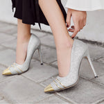 Fashion Pointed Sequined High Heels