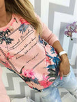 Round Neck  Floral T-Shirts