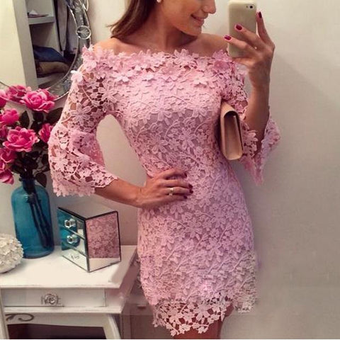 Pink Lace Floral Wedding Party Dress
