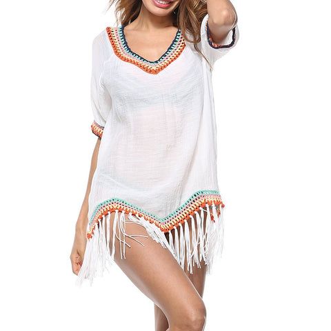 Fashion Tassel Vacation Beach Casual Blouse
