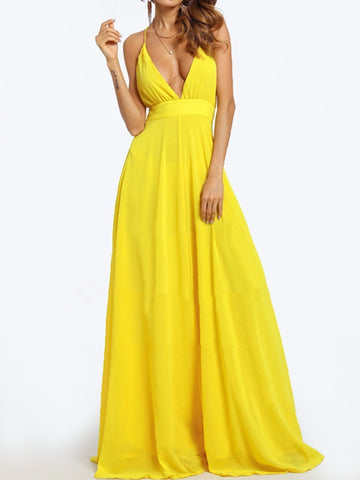 Deep V-Neck  Plain Maxi Dress