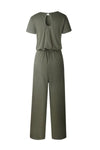 Round Neck  Belt  Plain  Short Sleeve Jumpsuits