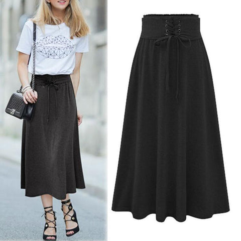 Elegant High Waist Pure Color Skirt