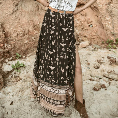 Bohemia Printing Split Chiffon Beach Vacation Skirt