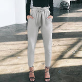 Casual Pure Color Long Pants With Belt
