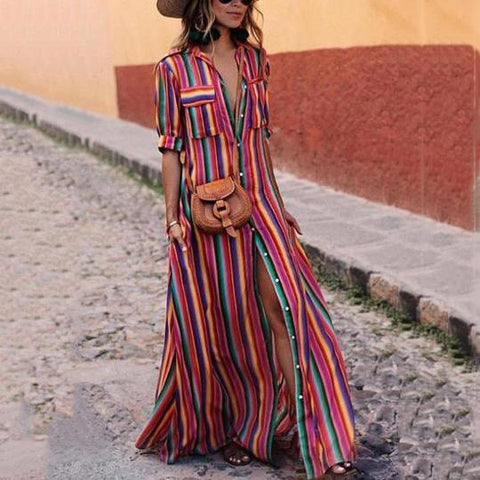 Button Down Collar  Maxi Vacation Dresses