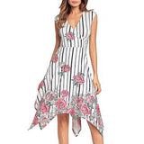 Fashion Floral Printed Tails Irregular Vacation Midi Dress