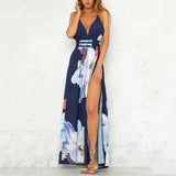 Bohemian Sexy Backless Split Printing Maxi Vacation Dress