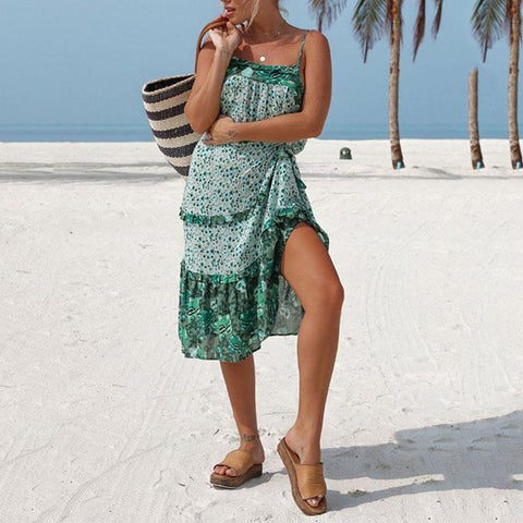 Bohemian Sexy Backless Printing Strap Beach Vacation Dress