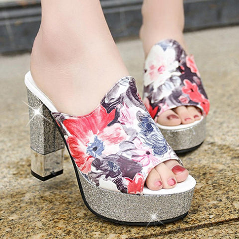 Floral  Chunky  High Heeled  Peep Toe  Date Outdoor Platform Sandals