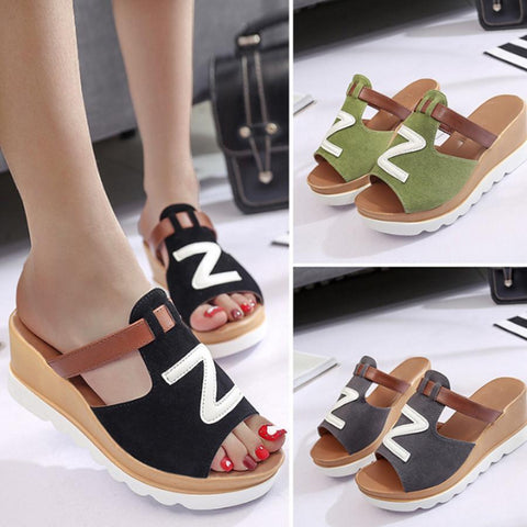 Color Block  High Heeled  Peep Toe  Casual Platform Sandals