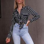 Sexy Black Stripe Long Sleeves Blouses T-Shirt
