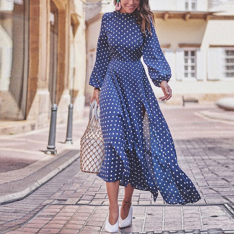 Fashion Round Collar Blue Polka Dot Slit Maxi Dress