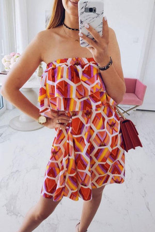 Strapless  Flounce  Geometric  Sleeveless Casual Dresses