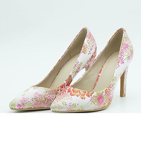 Embroidered Shallow Mouth Stiletto High Heel Mueller Shoes